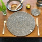 Round Spiral Jute Tablemat - Natural/Grey