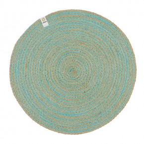 Round Spiral Jute Tablemat - Natural/Turquoise 3