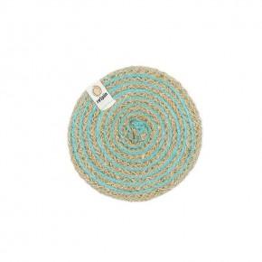 Round Spiral Jute Coaster - Natural/Turquoise 1