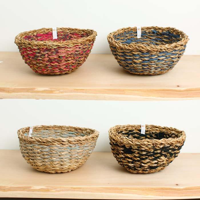 Round Sari & Seagrass Bowl - Assorted - SINGLE BOWL