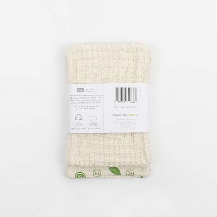 Organic Cotton 'Scrub' Unsponge - Mint Leaf - Pack of 2