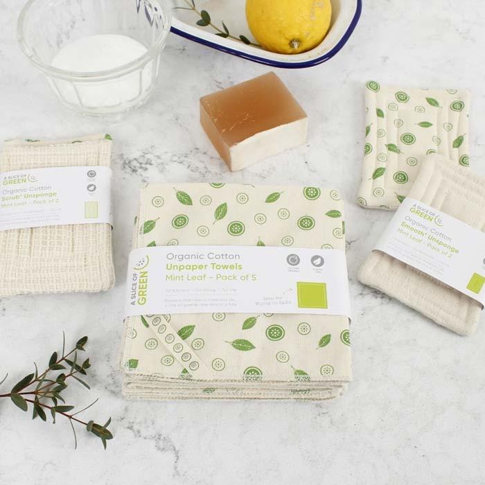 Organic Cotton 'Smooth' Unsponge - Mint Leaf - Pack of 2