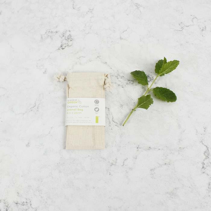 Organic Cotton Utensil Bag - 6.5 x 26cm